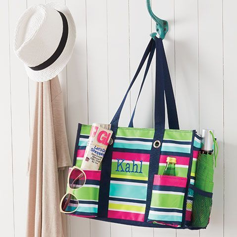 Thirty One Gifts Zip Top Organizing Utility Tote In Preppy Pop