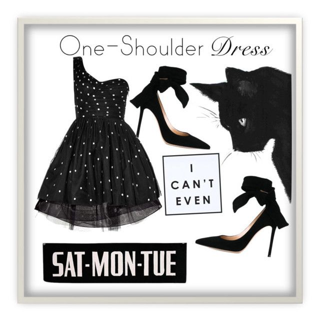 """One shoulder 👗"" by yanglu2 ❤ liked on Polyvore featuring Yves Saint Laurent, Gianvito Rossi and WALL"