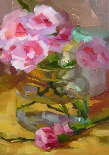 """Daily+Paintworks+-+""""Carnations""""+-+Original+Fine+Art+for+Sale+-+©+Holly+Storlie"""