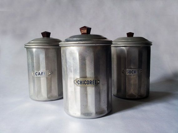Vintage French Kitchen CANISTERS SET  / by PetitesChosesDeLaVie, $55.00
