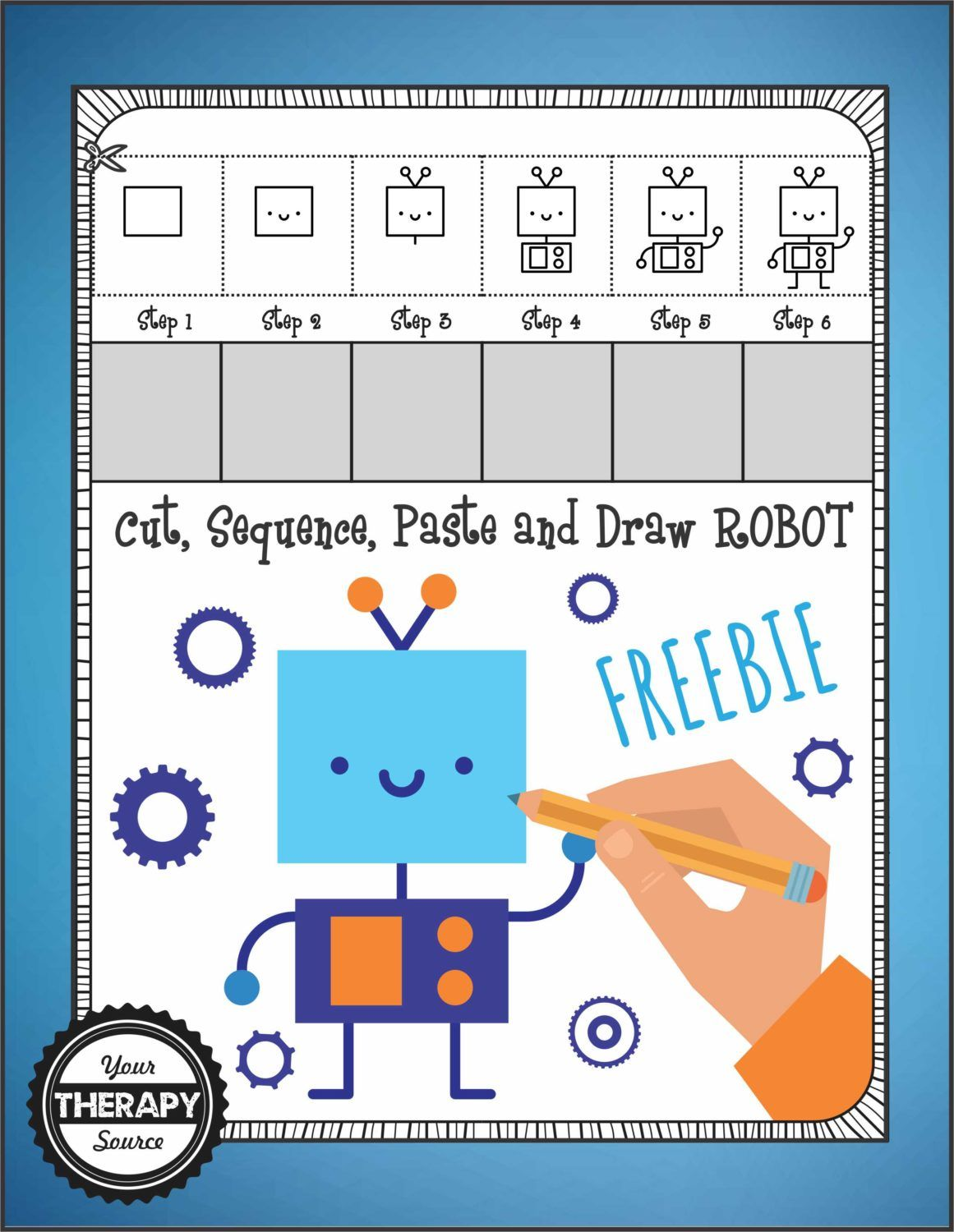 Cut Sequence Paste And Draw Robot Freebie