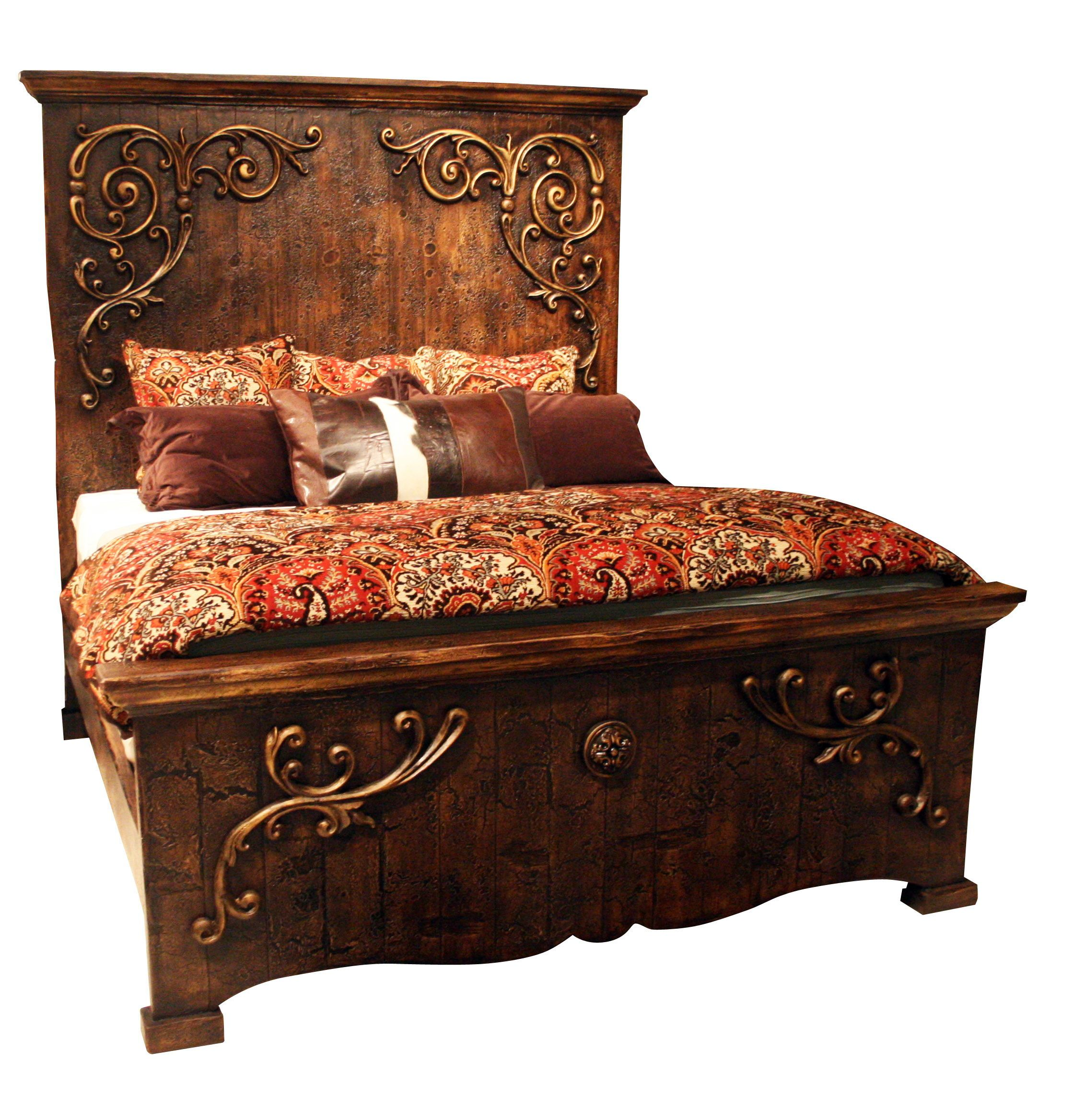 Amazing Handmadebed Wood Bed With Scrolls In Gold European Mediterranean Style Furniture Made B Painted Bedroom Furniture Tuscan Furniture Tuscan Decorating