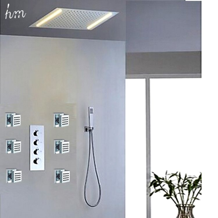Electric Led Shower Set Embed Ceiling Shower Headspa Body
