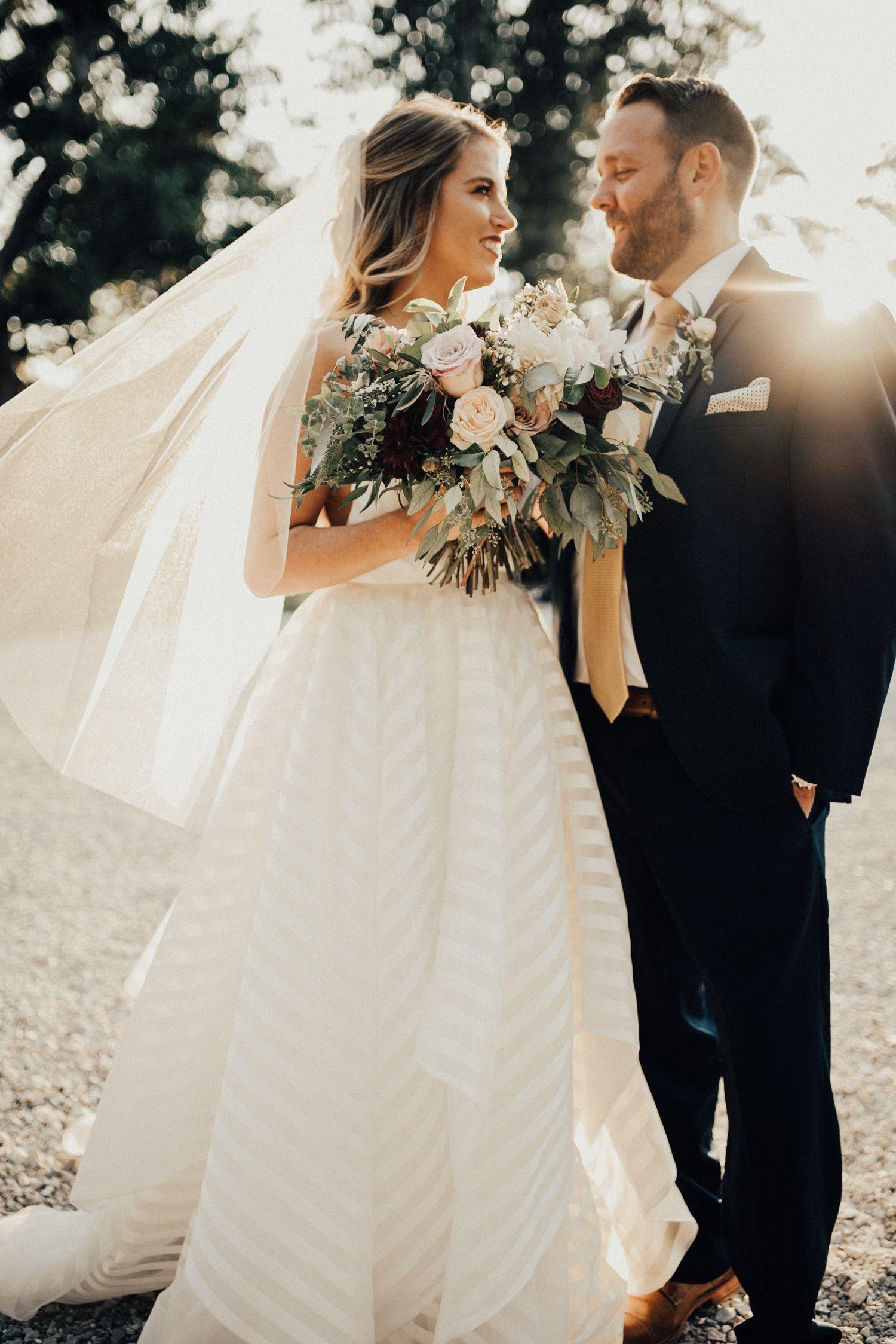 Non traditional wedding dress  striped wedding dress  St Louis wedding photographers  Silver