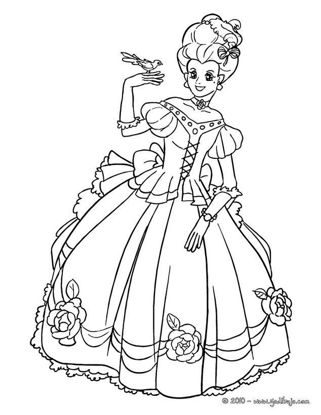 Dibujo Con Princesa Colorear Para Pintar Vestido QredCxBoWE