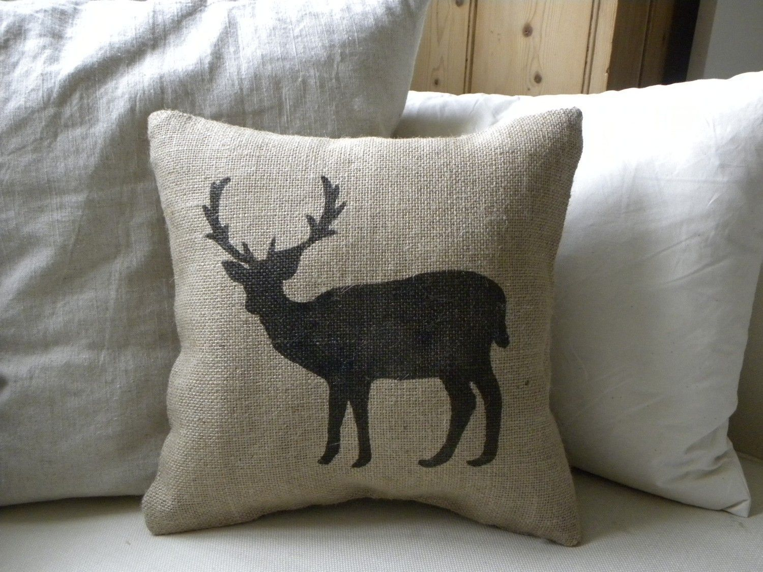 burlap deer reindeer pillow cushion for christmas winter or boys room etsy front page item 22 00 via etsy