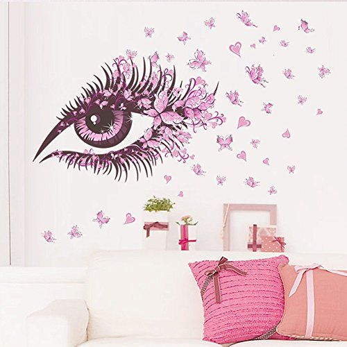 Amaonm Beautiful Pink Eyes Flying Butterfly Wall Decal Removable - Butterfly wall decals 3dpvc d diy butterfly wall stickers home decor poster for kitchen