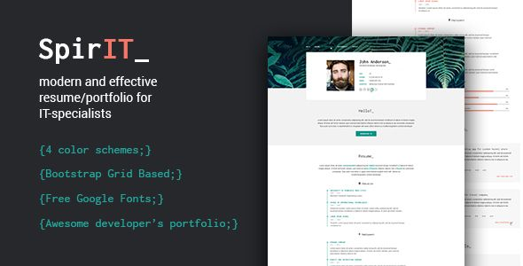 Spirit  PortfolioResume Html Template For Developers