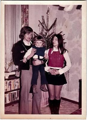 1970s Vintage Photo Go Go Boots Miniskirt Girl w Family by