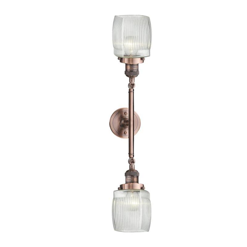 Photo of Innovations Lighting 208L Colton Colton 2 Light 22″ Wide Bathroom Vanity Light Antique Copper / Clear Indoor Lighting Bathroom Fixtures Vanity Light