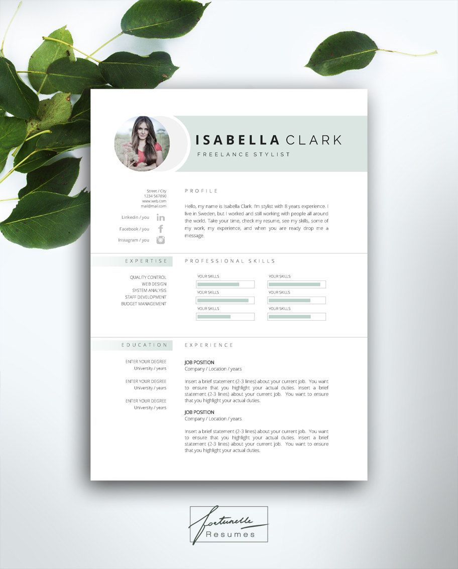 resume template 4 page    cv template   cover letter    instant download for ms word     u0026quot isabella