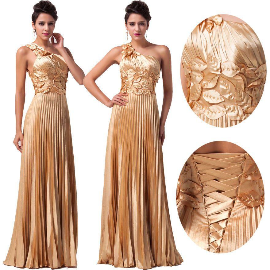 Details zu Luxus Sexy Satin Lange Brautjungfer Hochzeitskleider ...