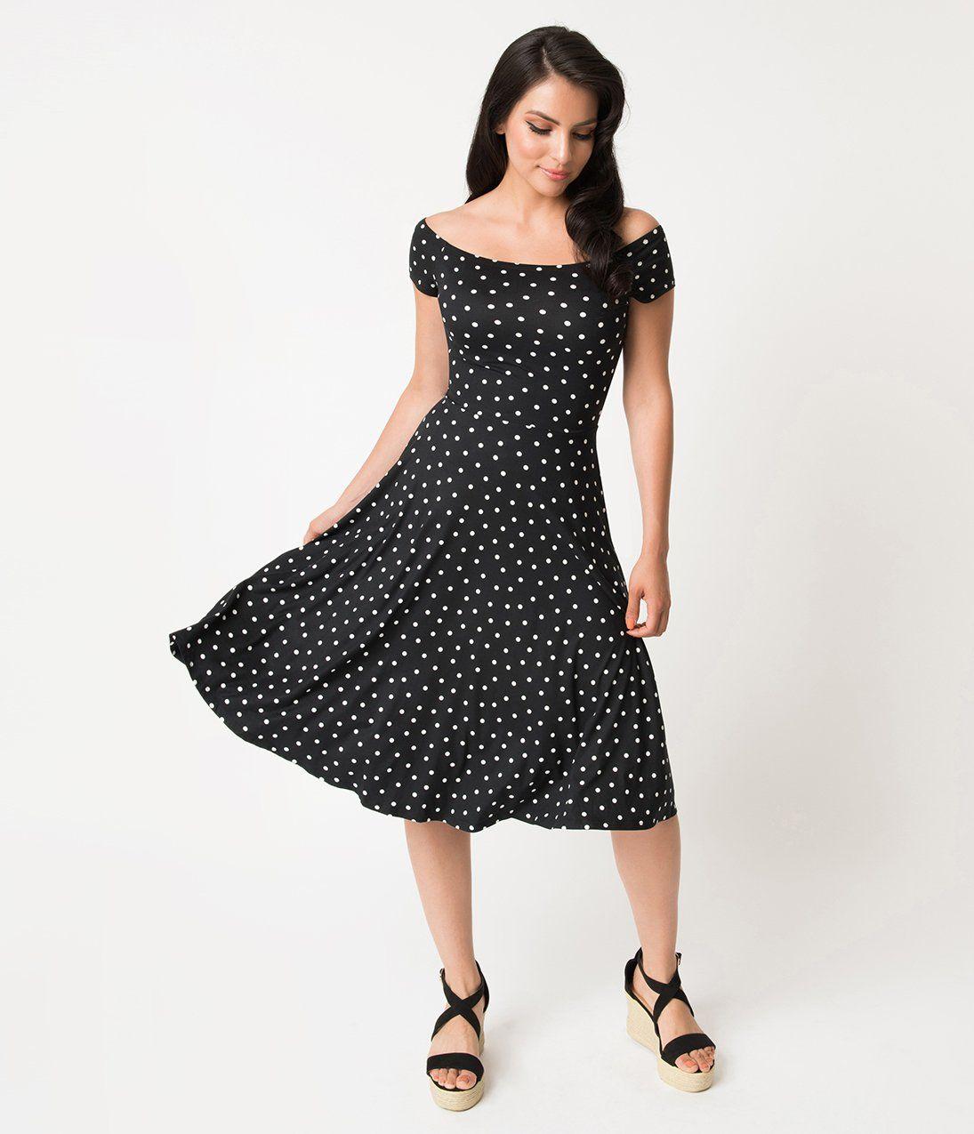 bc663775b3652 Retro Style Black & White Polka Dot Off Shoulder Swing Dress – Unique  Vintage