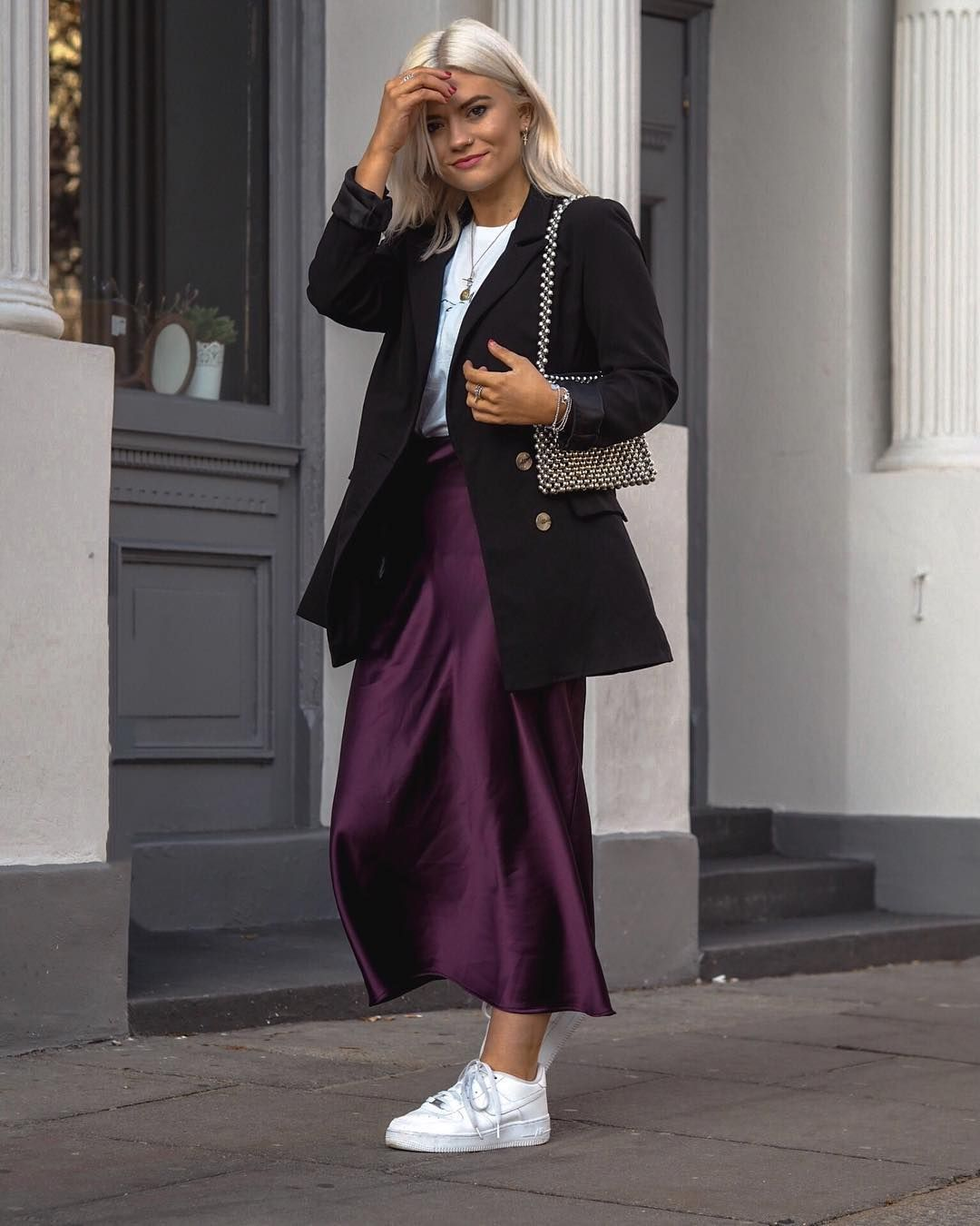 97bf3c472 SHOPUPP Purple Topshop bias cut long skirt satin Black double breasted  blazer White T-shirt trainers outfit
