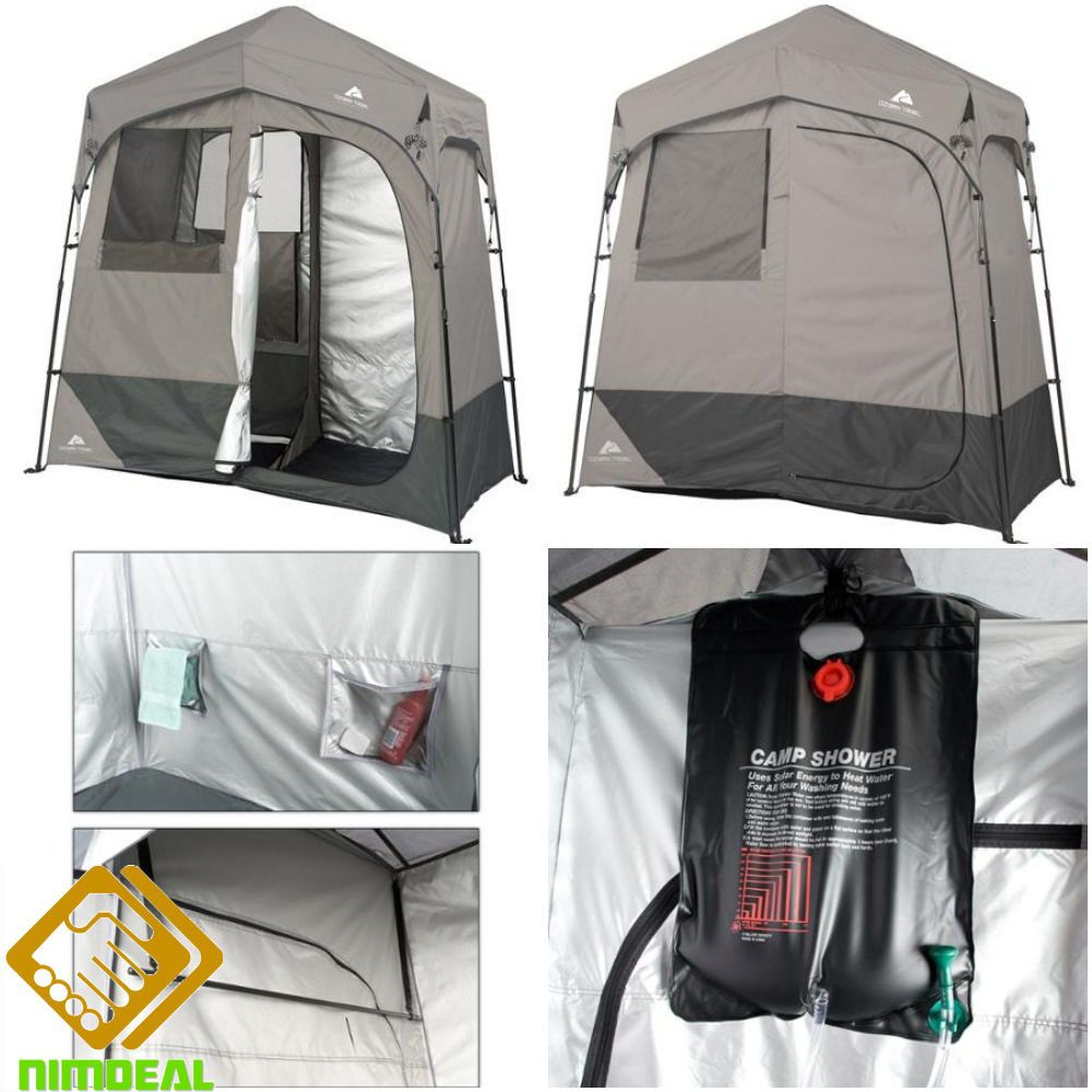 Tent Canopy Solar Heated Shower Awning 2-Room Changing Outdoor Shelter C&ing & Tent Canopy Solar Heated Shower Awning 2-Room Changing Outdoor ...