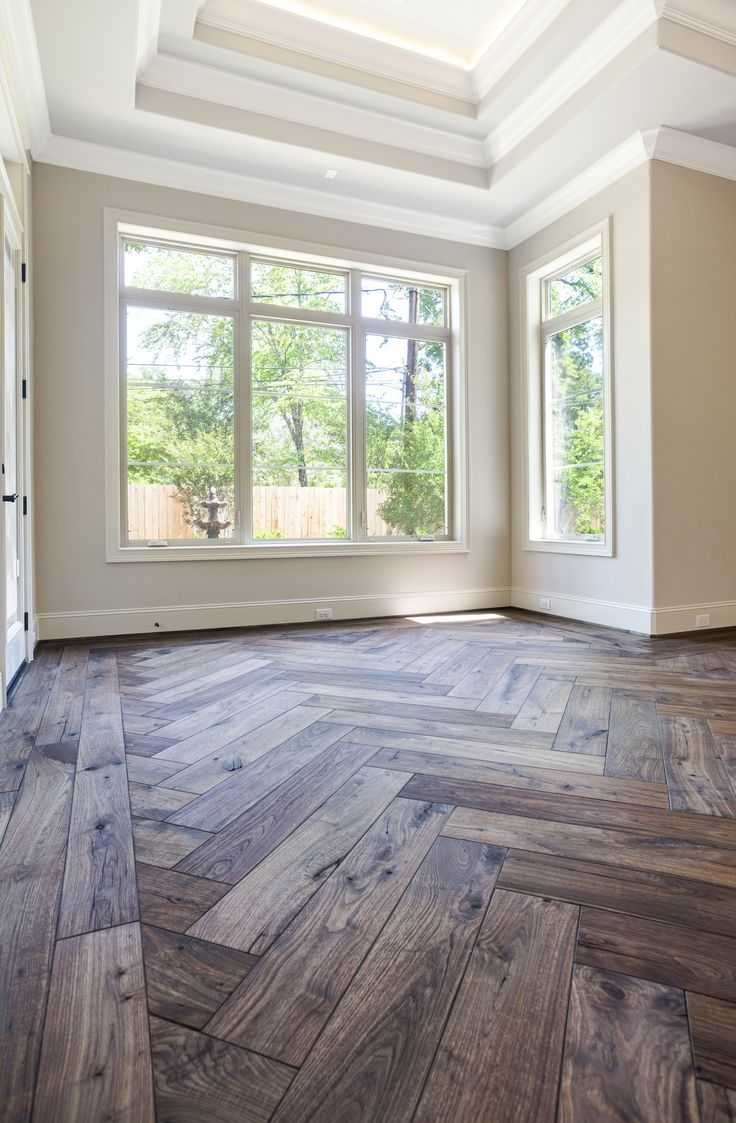 Bradley Additions Series By Maxwell Hardwood Flooring 7 Colonial Walnut With Log Cabin Miter Border And Herringbone Insert F House Flooring New Homes Home