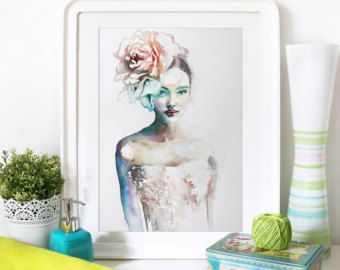 Watercolor Print  Still life . Portrait of beautiful girl.