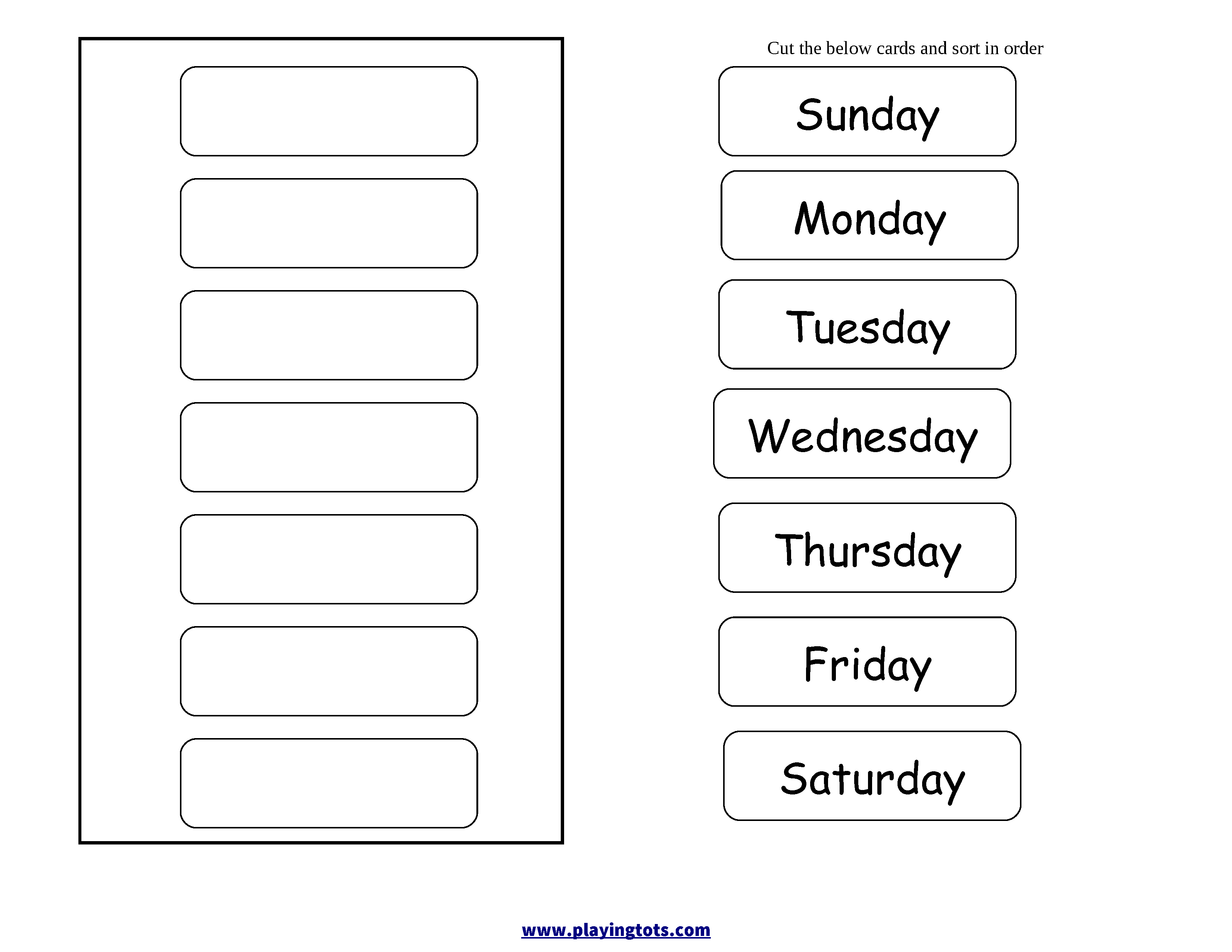Order Days Of The Week