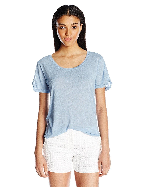 be5bc0120973c Women s Knit Twist T-Shirt - Faded Denim - CC1206A1H0B in 2019 ...