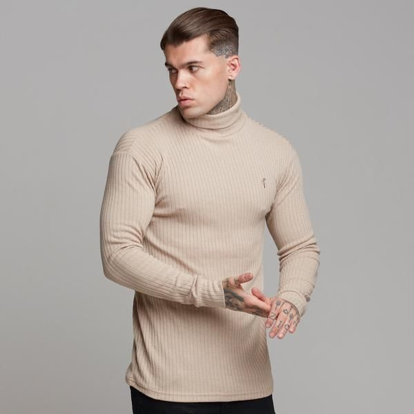 1513bf8b25ccec Classic Beige Ribbed Knit Roll-neck Jumper - FSH292 in 2019   MENS ...