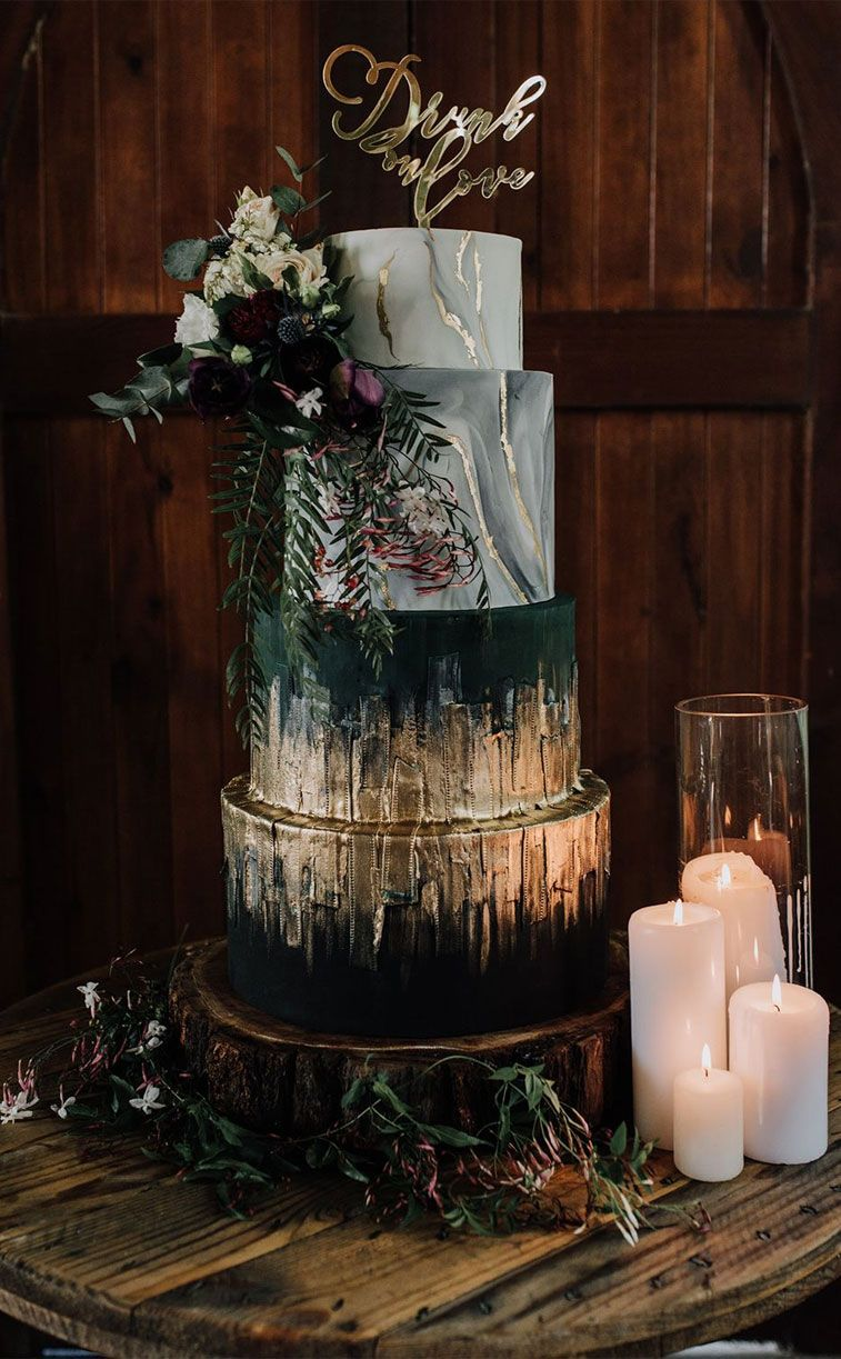 Four tier wedding cake - moody wedding cake #weddingcake wedding cakes