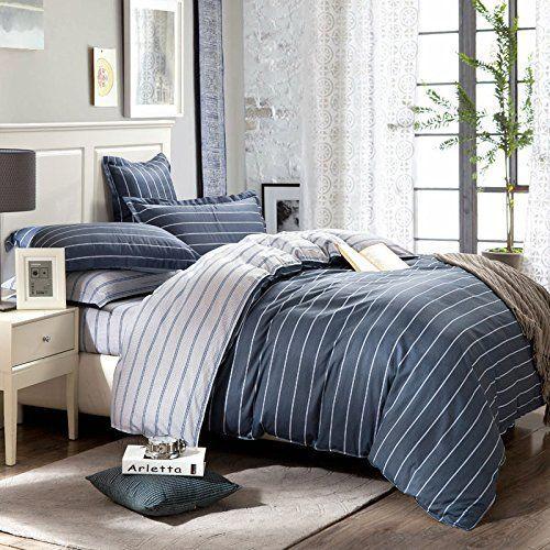 Babanake 4pcs 100 Cotton Classic Stripes Cozy Quilt Duvet Cover