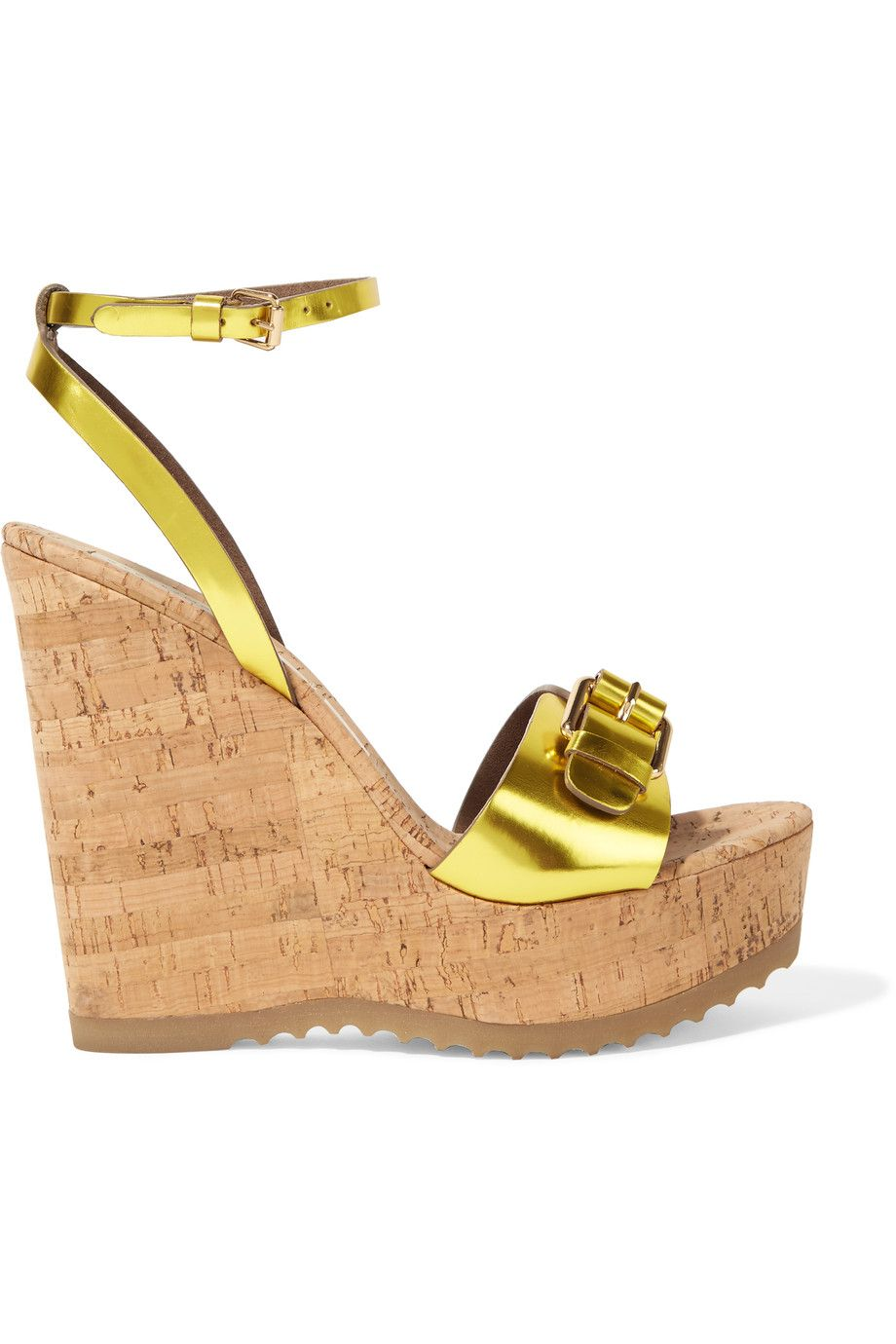 STELLA MCCARTNEY Faux Metallic Patent-Leather And Cork Wedge Sandals.   stellamccartney  shoes  sandals ba689b403d3