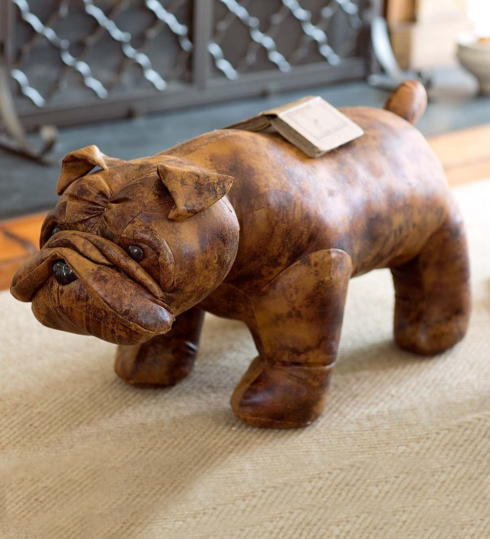Bulldog Stuffed Animal Ottoman In Faux Leather Family Room