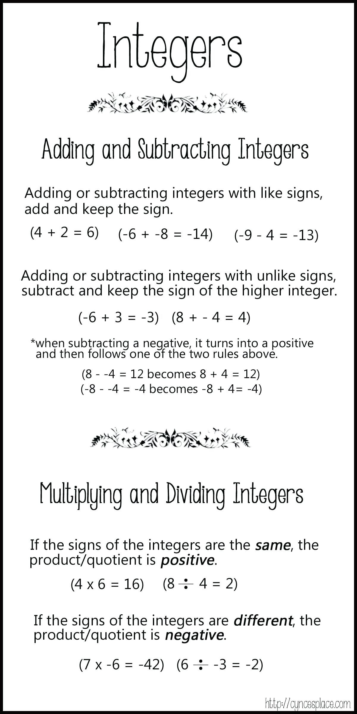 General Adding Negative Numbers Worksheet
