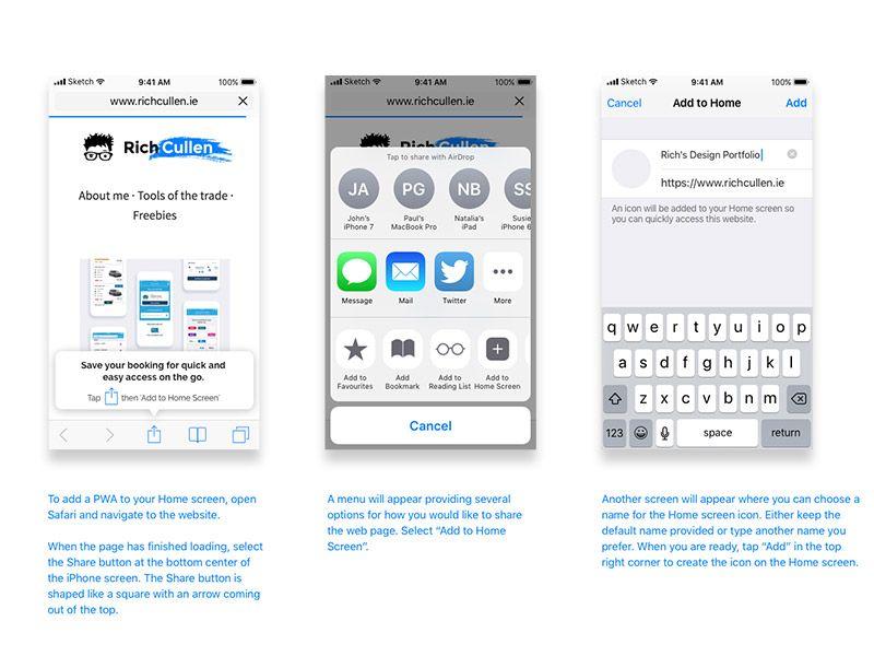 Pwa Onboarding Ios Safari Onboarding Free Design Resources Sketch App