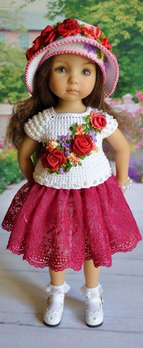 Litlle Darling by Dianna Effner, love the roses on the sweater. they ...