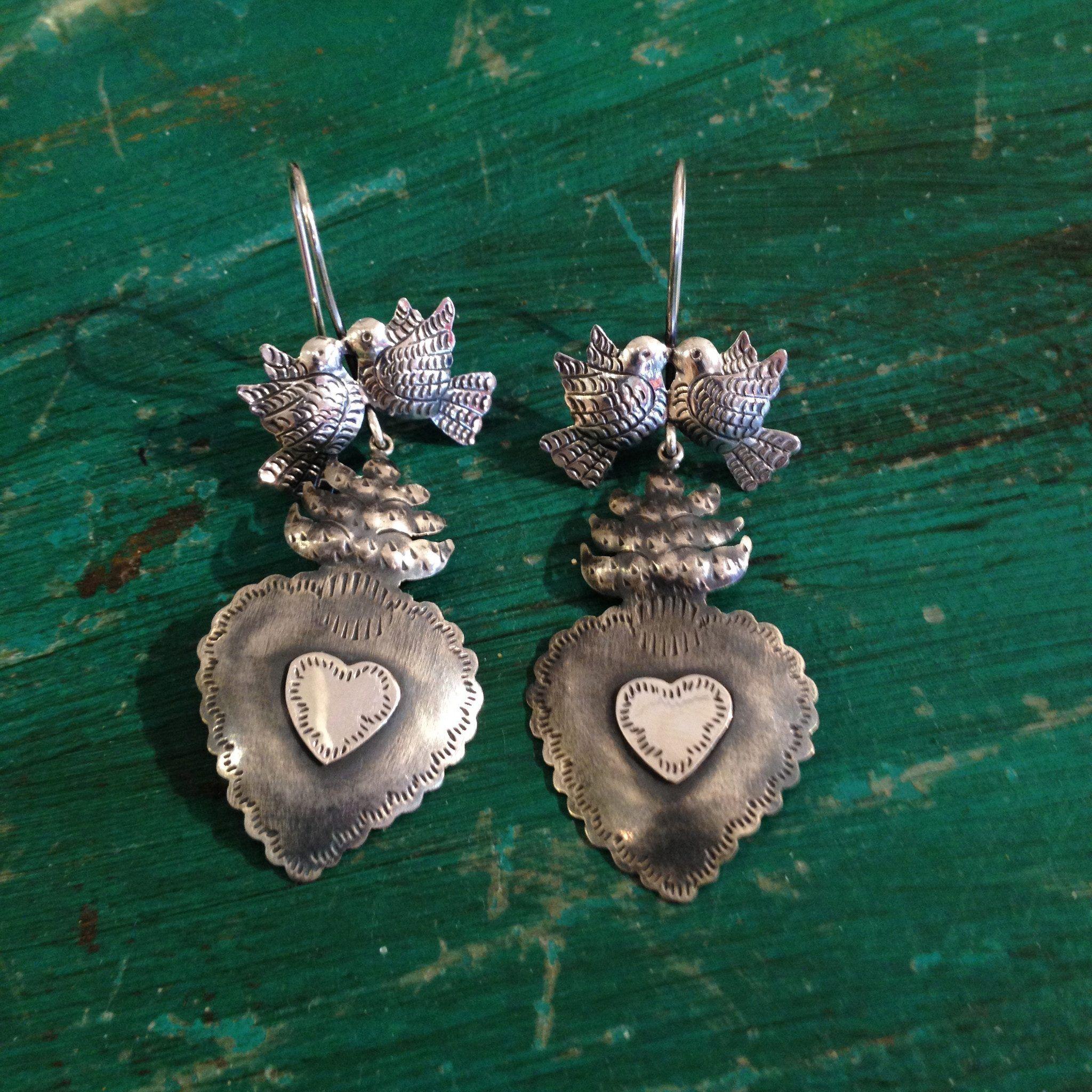 a04aad702 Zinnia Folk Arts - Silver Sacred Heart Earrings with Lovebirds, Oxidized  Silver
