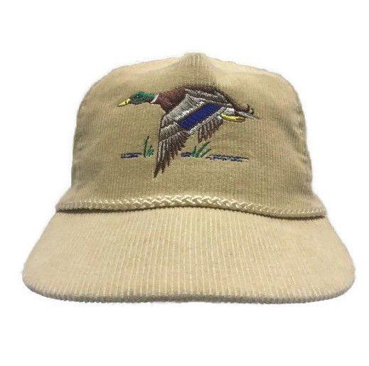c67b9345a2e89 Corduroy Duck Tan Snapback Hat Cap Mallard Embroidered Hunting Dad Hat Cap   Unbranded  TruckerHat