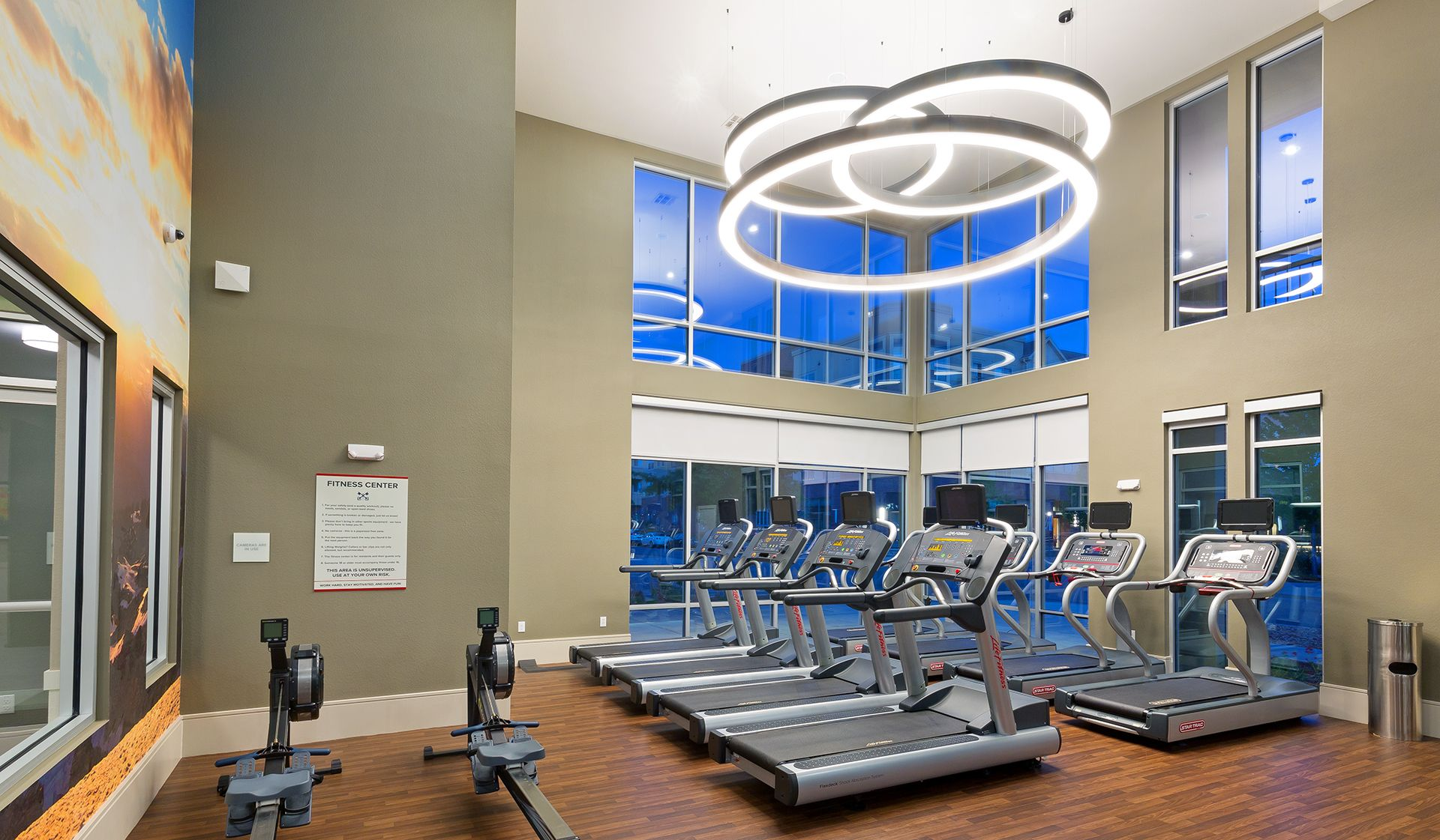 Brand New Dedicated Cardio Room With New Machines Pet Friendly Apartments Wood Plank Flooring Plank Flooring