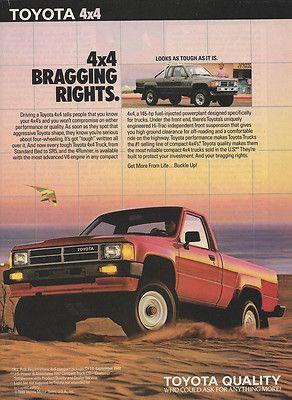 1988 Toyota 4 X Trucks Sr5 4runner Hang Glider Original Print Magazine Ad