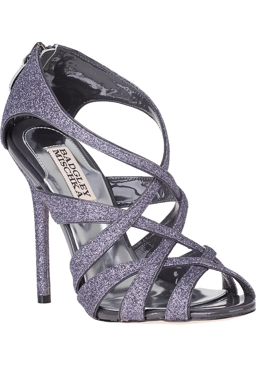 bb57c07a653 Badgley Mischka Junebug Evening Sandal Pewter Glitter in Silver (Pewter  Glitter)