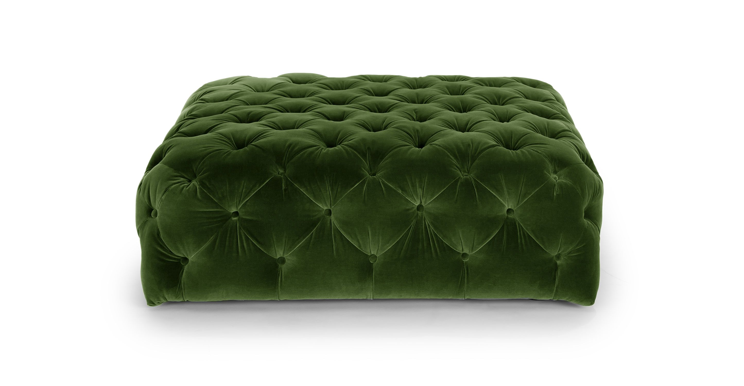 Green Velvet Tufted Ottoman | Article Diamond Modern Furniture