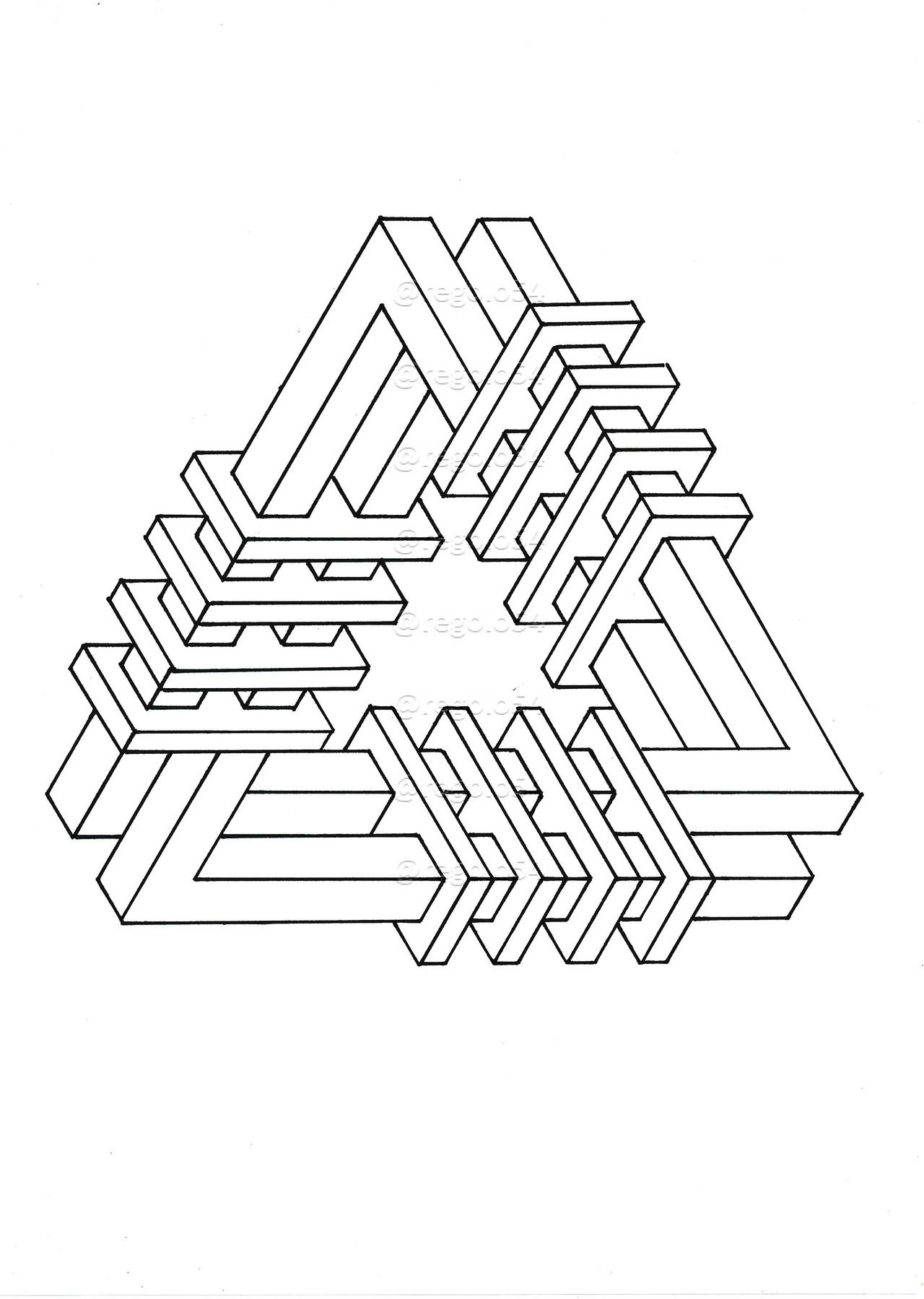 Impossible Isometric paper, Pattern coloring pages