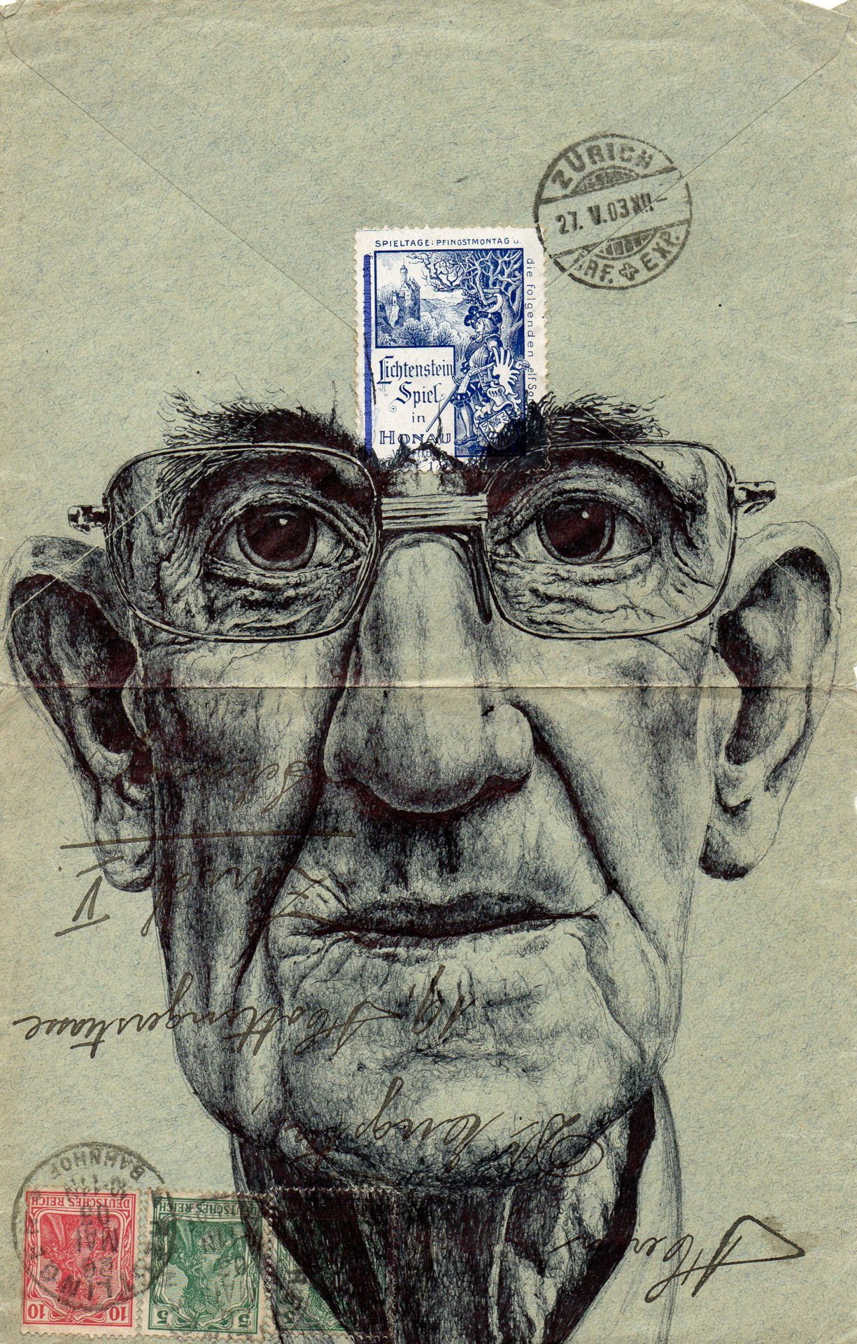 Powell executes each drawing with a standard bic biro pen using stamped and faded envelopes that traversed the european postal system more than
