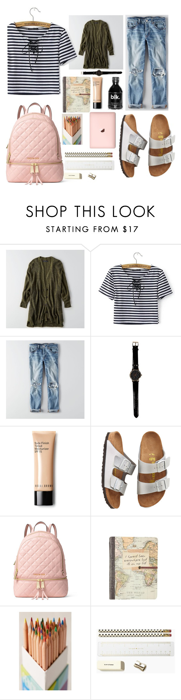 """""""Back to School"""" by madinnmichelle ❤ liked on Polyvore featuring American Eagle Outfitters, Bobbi Brown Cosmetics, Birkenstock, MICHAEL Michael Kors, Urban Outfitters and Kate Spade"""