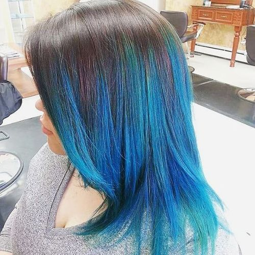 Brown And Blue Ombre Hair