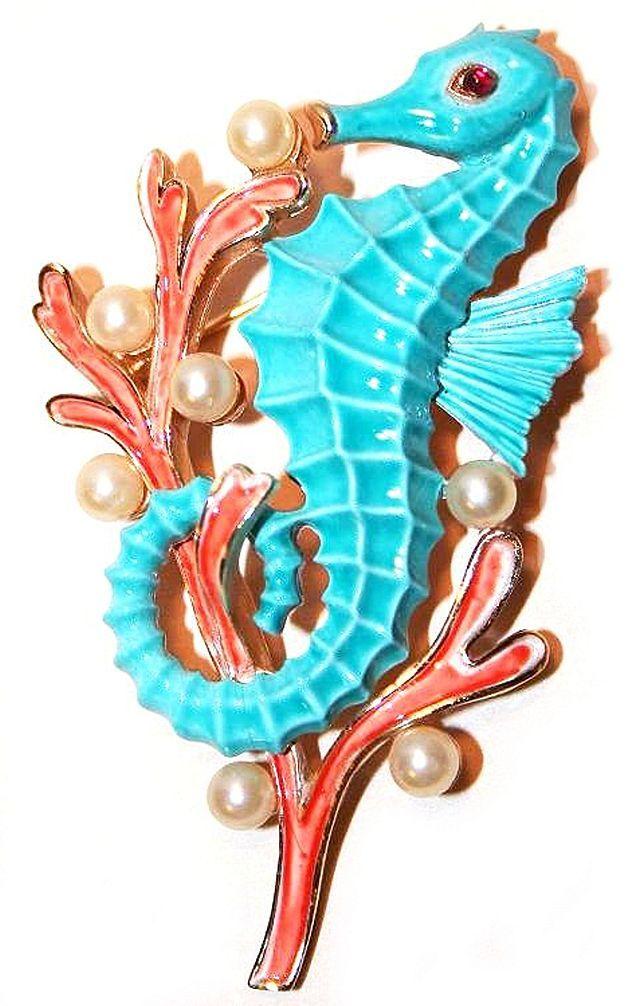 TRIFARI 'Alfred Philippe' Coral Enamel & Pearls Aqua Seahorse Pin