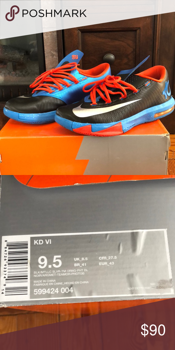 510a88e74386 Men s Nike KD VI Sneakers Gently Worn - Men s Nike KD VI - Blk Metallic  Orange - Size 9.5 Nike Shoes Sneakers
