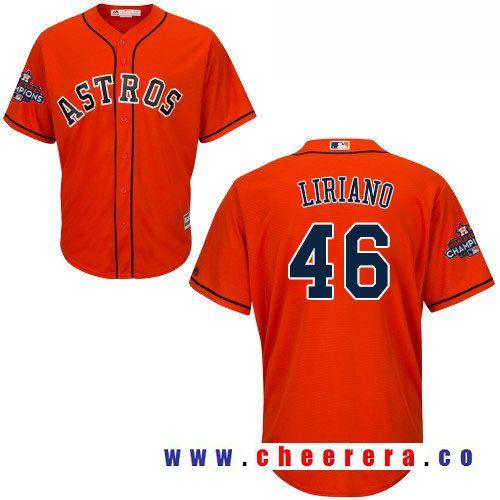 mens houston astros 46 francisco liriano orange alternate majestic cool base stitched 2017 world ser