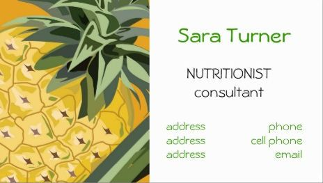 Fresh pineapple simple dietitians and nutritionists business cards girly nutrition and wellness business cards reheart Image collections