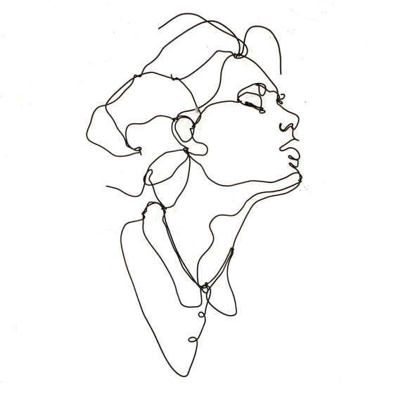Ecstasy Profile, Wire wall art, Woman, female portrait, wall sculpture