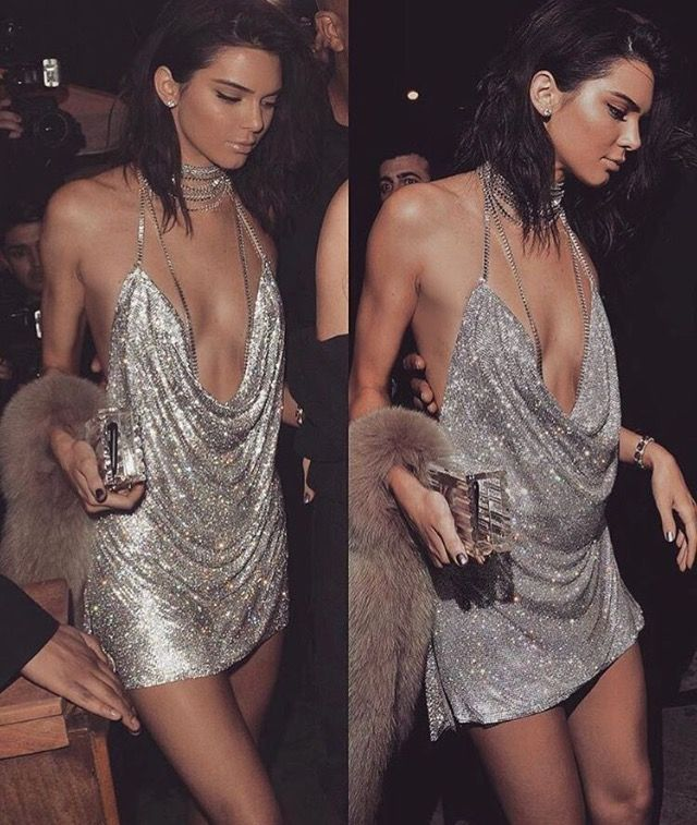 320be33ff95 Kendall wearing silver glittery club party dress