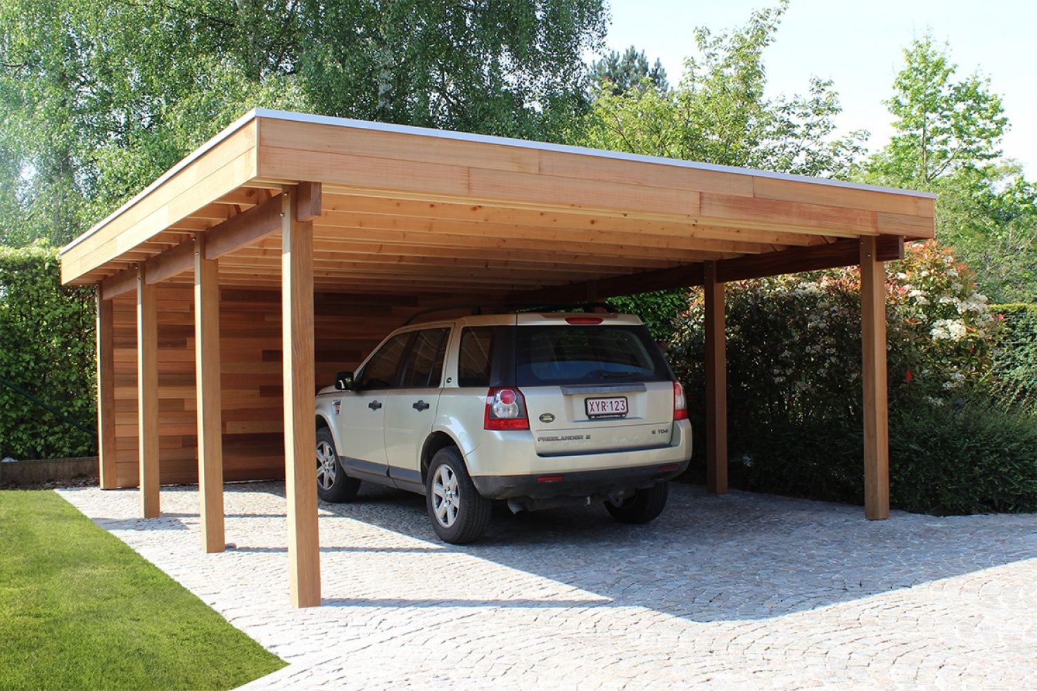 Carport of garage in hout met berging of fietsstalling - Woodstar ...