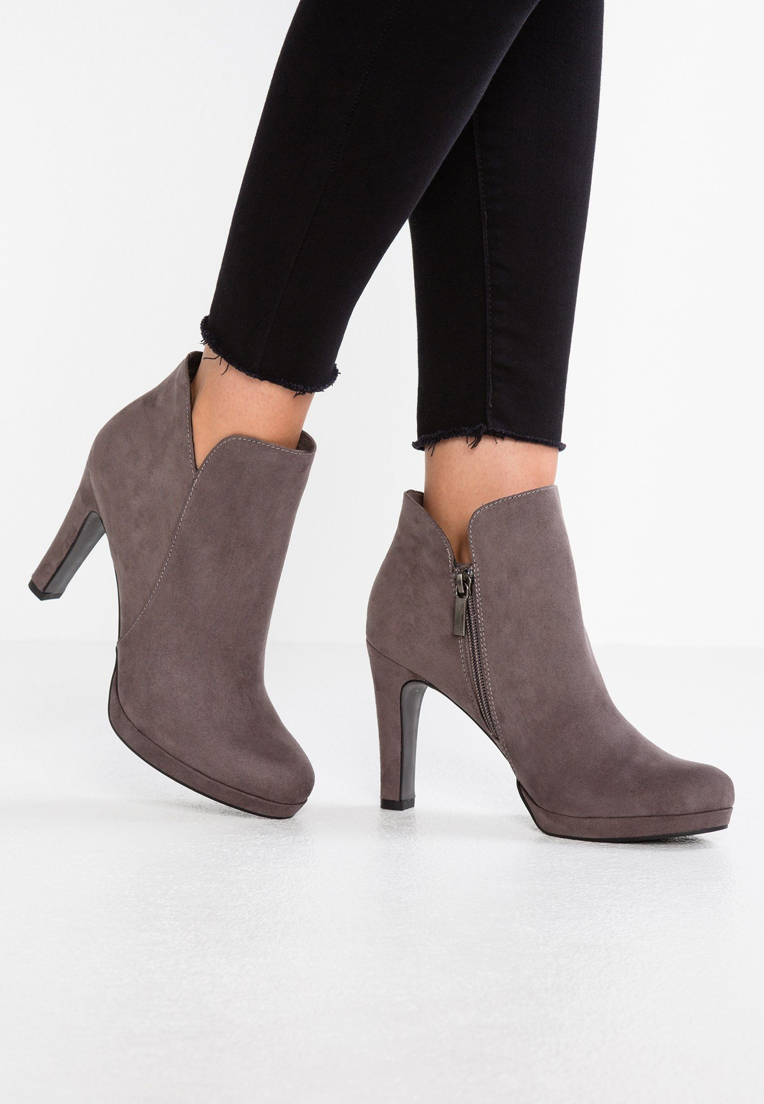 Tamaris Botki Na Obcasie Graphite Zalando Pl Shoes Boots Ankle Boot