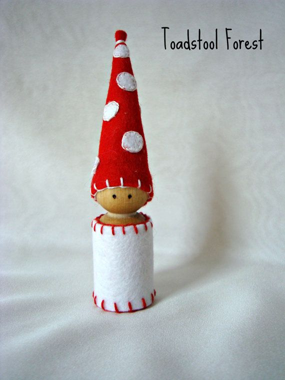 Waldorf Inspired Mushroom Gnome ~ Red and White Polka Dot ~ Pretend Play ~ Peg Doll